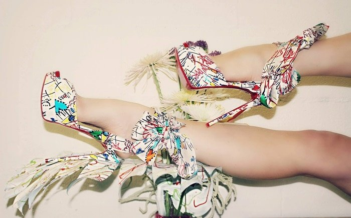 Jersey Vamp Graffiti Printed Scarf Sandals By Christian