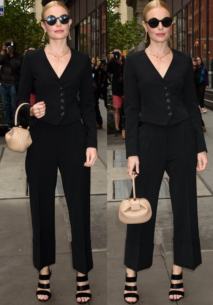 Kate dons a chic black look by Frame