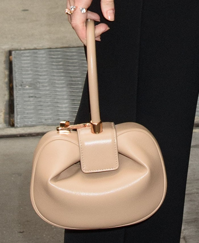 """The actress keeps things neutral with a Gabriela Hearst """"Demi"""" bag in Nude"""