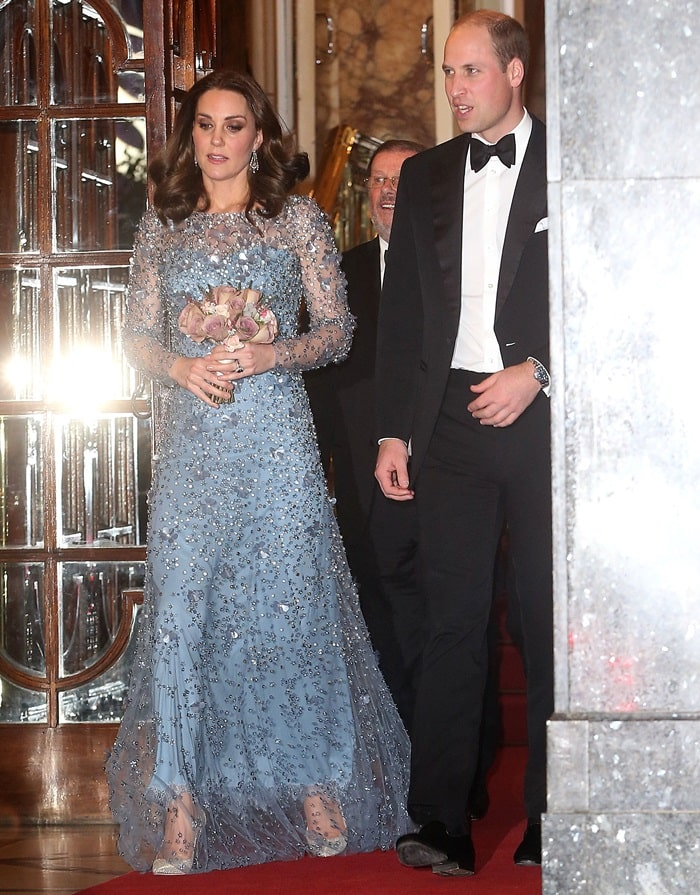 """Kate Middleton was Queen Elsa from """"Frozen"""" in real life in her icy-blue Jenny Packham long-sleeved gown"""