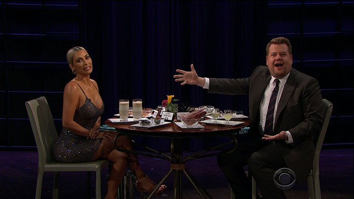 "Kim Kardashian having to drink a sardine smoothie on the ""Spill Your Guts or Fill Your Guts"" segment of her guest appearance on The Late Late Show with James Corden aired on November 15, 2017."