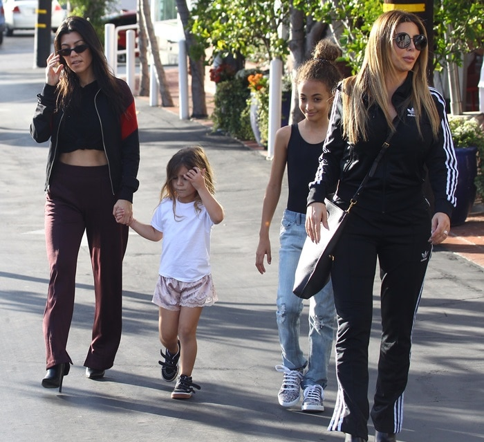 Kourtney Kardashian out for lunch and shopping with her daughter, Penelope, and Larsa Pippen with her daughter, Sophia, in West Hollywood, California, on November 18, 2017