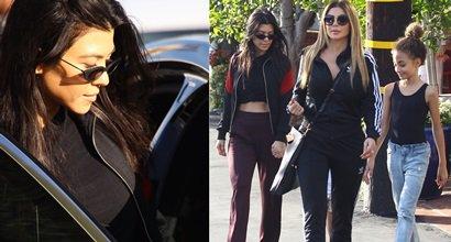 c68ce1170f21 Kourtney Kardashian Flashes Abs in Balenciaga  Knife  Leather Ankle Boots