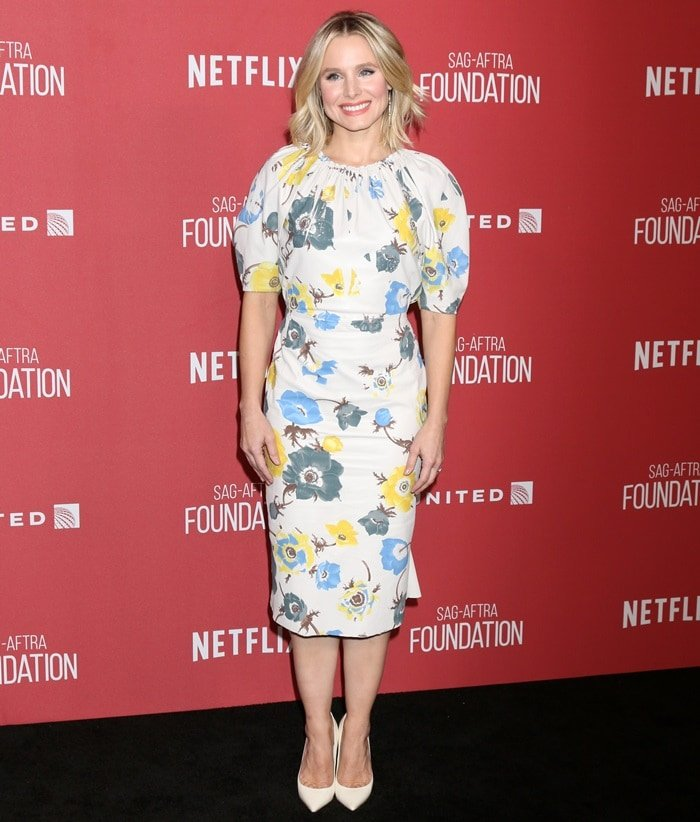 Kristen Bell in a floral Salvatore Ferragamo dress at the SAG-AFTRA Foundation Patron of the Artists Awards at the Wallis Annenberg Center of the Performing Arts in Beverly Hills, California, on November 9, 2017