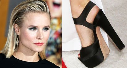 "dabdd772d962 Kristen Bell Premieres ""A Bad Moms Christmas"" in Michael Kors Dress and Brian  Atwood  Karin  Sandals"