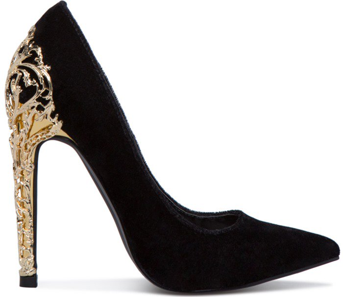 bd78091a3351 Fairy Tale Pumps With Gold Filigree Heels in Black and Red