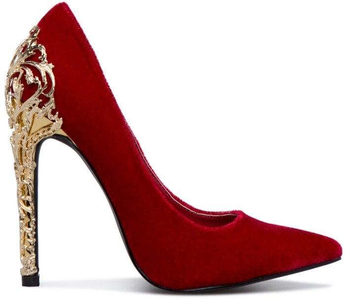 Embellished 'Krya' Pump With Gold Filigree Heel