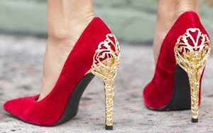 $10.74 Shoes: Fairy Tale Pumps With Gold Filigree Heels