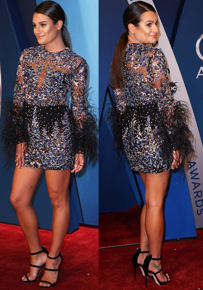 Lea turns heads on the carpet in a Zuhair Murad Fall 2017 bead and feather dress