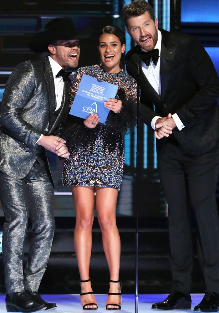 Lea presents the vocal group of the year alongside Dustin Lynch and Brett Eldredge