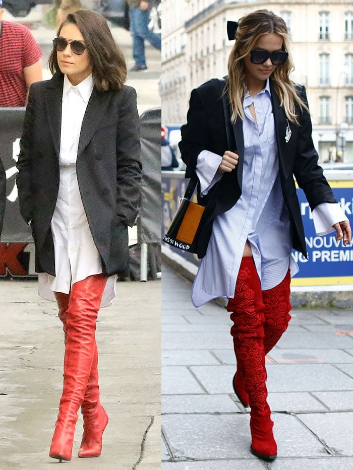 Mila Kunis and Rita Ora in red superhero boots.