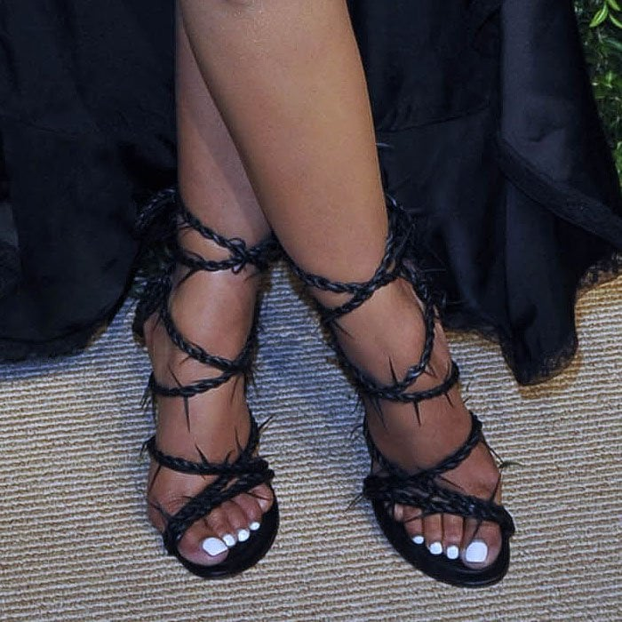 Nicki Minaj's Alexander Wang lace-up sandals with barbed leather straps.