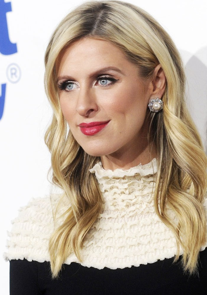 2aaa61cacb13 Pregnant Nicky Hilton Attends Gala in Pearl-Embellished Heels