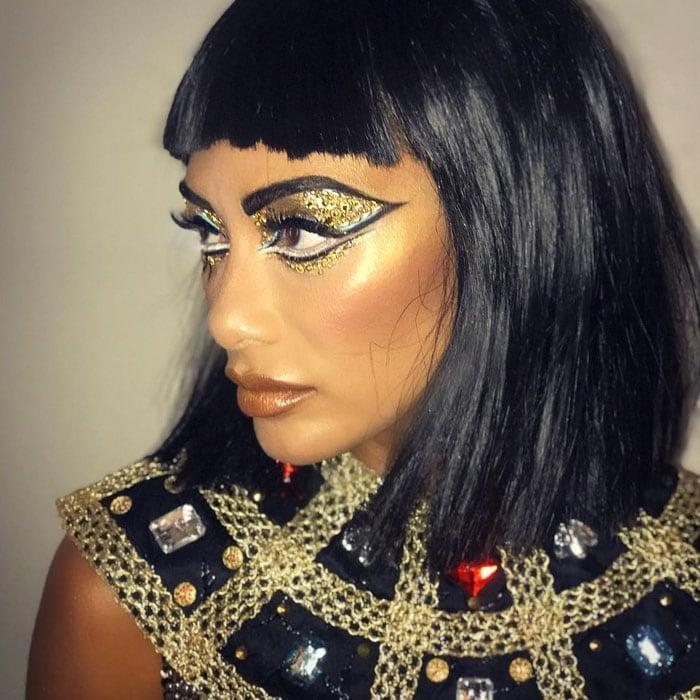 The singer shows off her pearl-embellished eye makeup