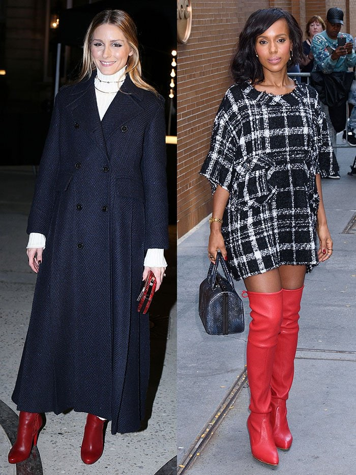 Olivia Palermo and Kerry Washington in red boots.