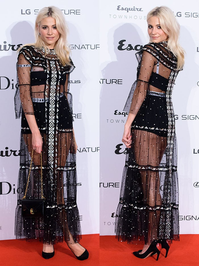Pixie Lott at theEsquire Townhouse with Dior party at No 11 Carlton House Terrace in London, England, on October 11, 2017.