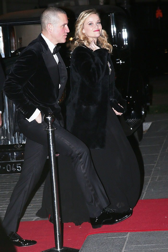 Reese Witherspoon and her husband, Jim Toth, arriving for the le Bal des Débutantes at The Peninsula Hotel in Paris, France, on November 25, 2017.
