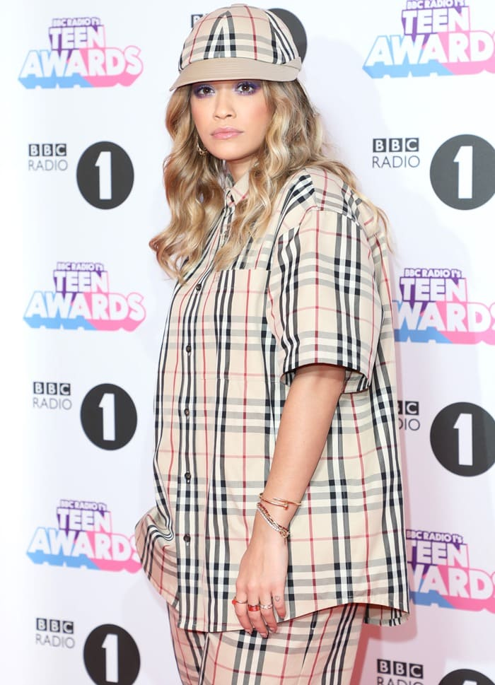 Rita Ora wearing a Gosha Rubchinskiy Spring 2018 outfit to host the BBC Radio 1 Teen Awards at Wembley Arena in London on October 22, 2017