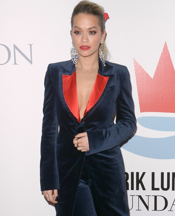 Rita Ora wearing a velvet tuxedo suit by SOS Steve Smith at the Samsung Charity Gala held at Skylight Clarkson Square in New York City on November 2, 2017