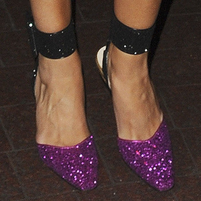 """Rosie adds some pre-holiday sparkle to her look with the Attico """"Diletta"""" pumps"""