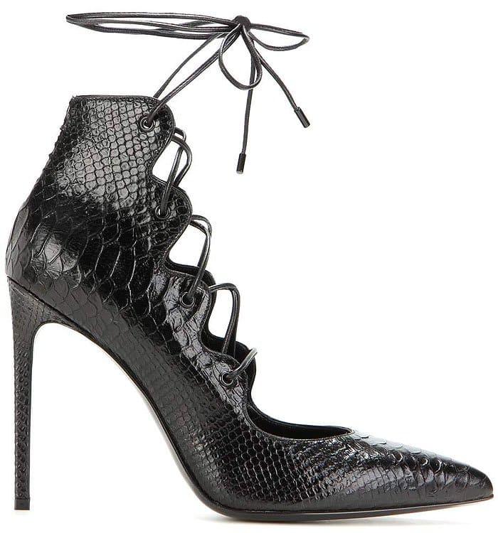 """Saint Laurent """"Paris"""" python-embossed lace-up pumps"""