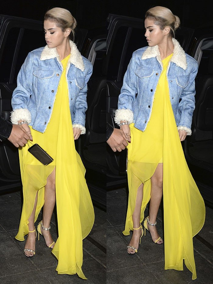 Selena Gomez highlighted her new blonde 'do with a yellow Calvin Klein one-shouldered gown paired with yellow Calvin Klein 'Camelle' sandals