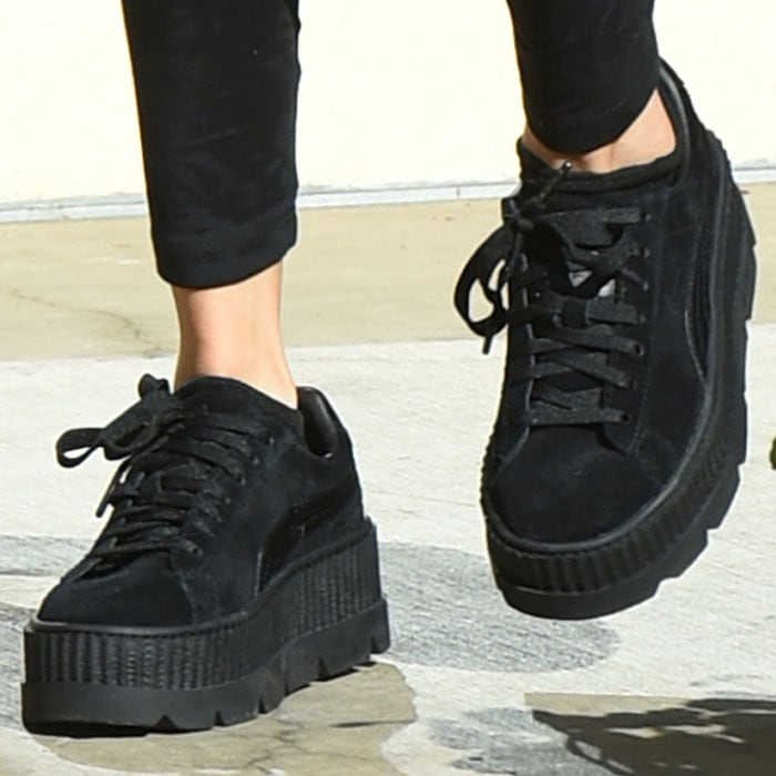 Selena switches to her Puma x Fenty by Rihanna creeper sneakers