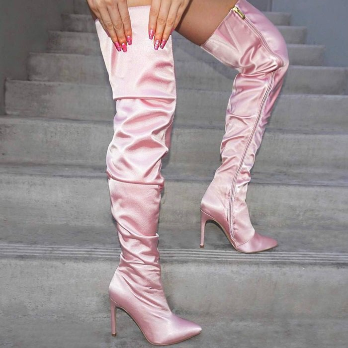 Blush Pointy Close Toe Slouchy Thigh High Boots