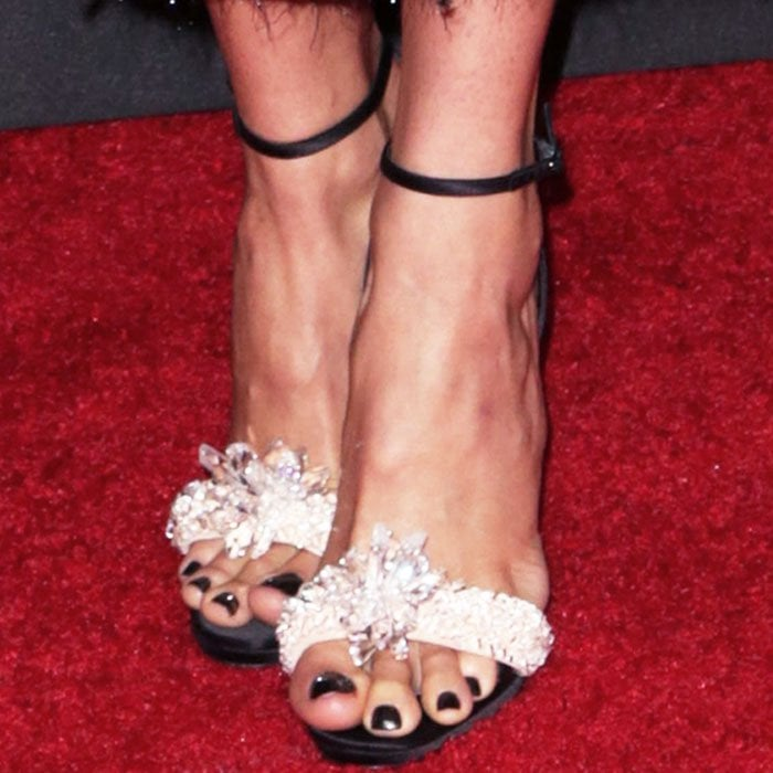 """Shailene contained all the sparkles to her feet in a pair of Christian Louboutin """"Crystal Queen"""" sandals"""