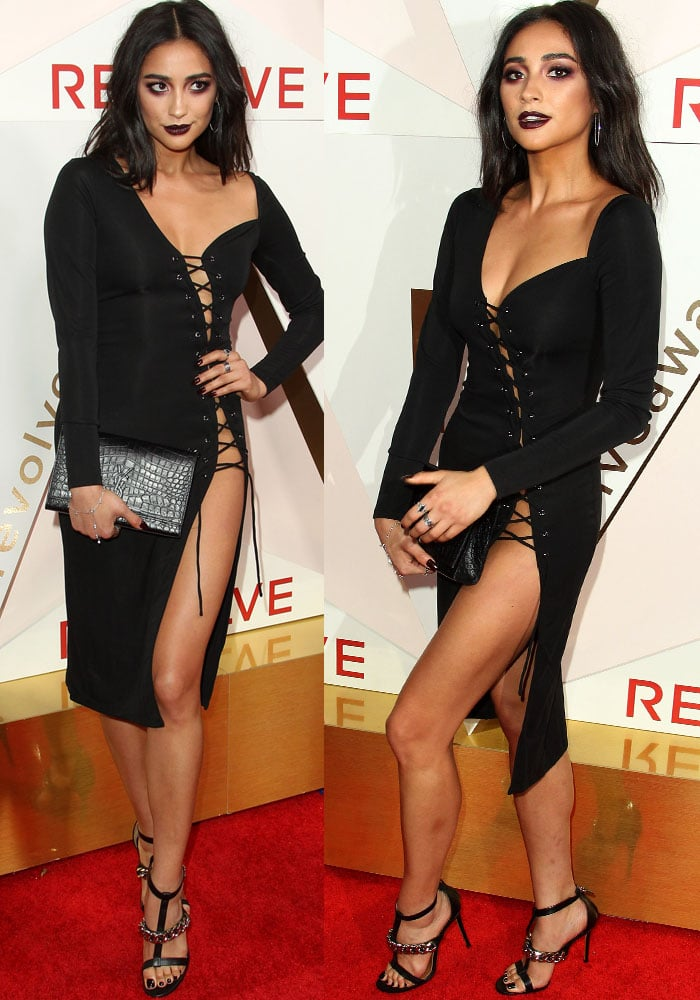 """Shay arrives at the awards ceremony in the sexy H:ours x Revolve """"Branden"""" dress"""