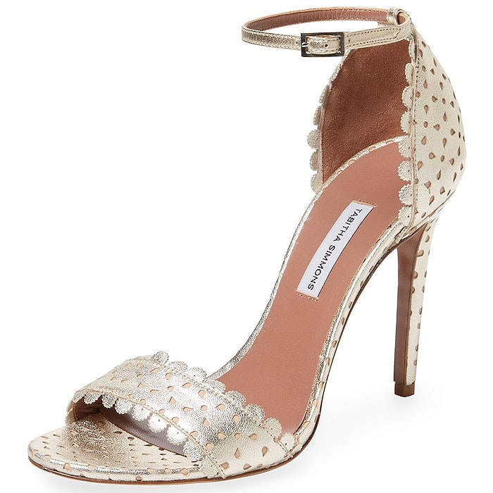 Tabitha Simmons 'Bijou' Scallop-Trim Perforated Ankle-Strap Sandals