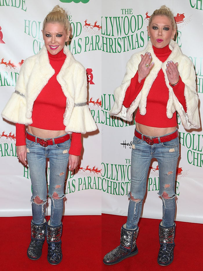 Tara Reid styled her blue/silver sequined UGG Sparkle boots with dated low-rise jeans