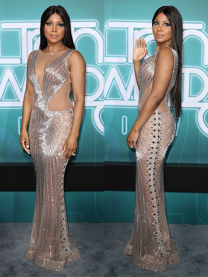 Toni Braxton paired her sheer naked dress with bulky nude Mary Jane platform pumps