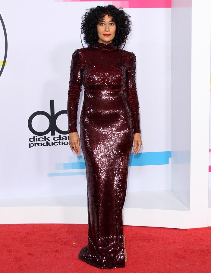 Tracee Ellis Ross wearing a sequined Stella McCartney dress at the 2017 American Music Awards held at the Microsoft Theater in Los Angeles on November 19, 2017
