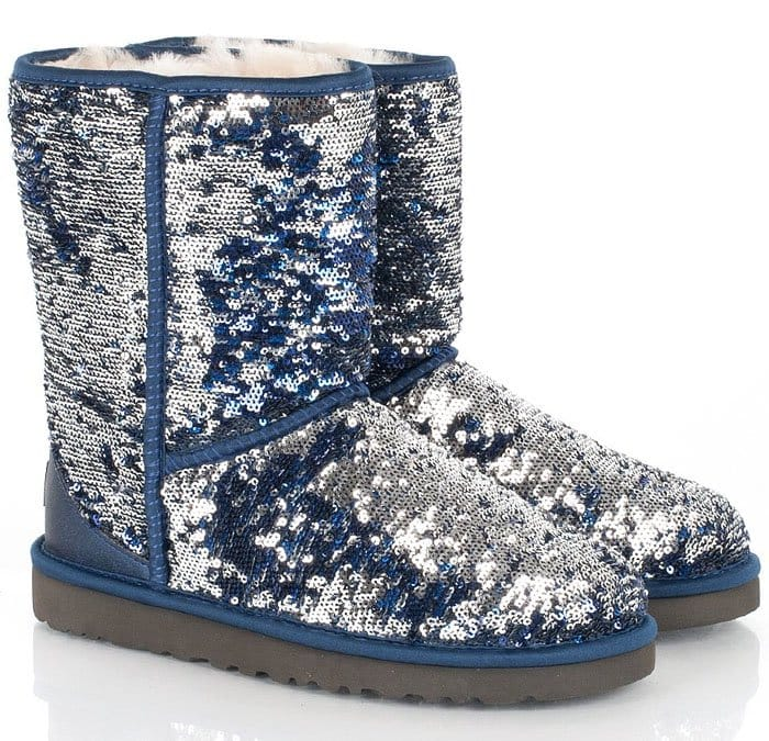 """Blue/Silver UGG Classic Short """"Sparkle"""" Boots"""
