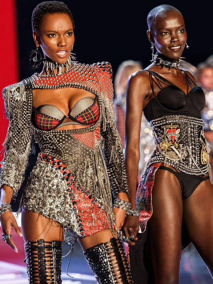 Maria Borges and Grace Bol show off studded body pieces from Balmain