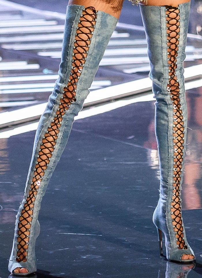 Brian Atwood mixes denim and laces for the Balmain collection