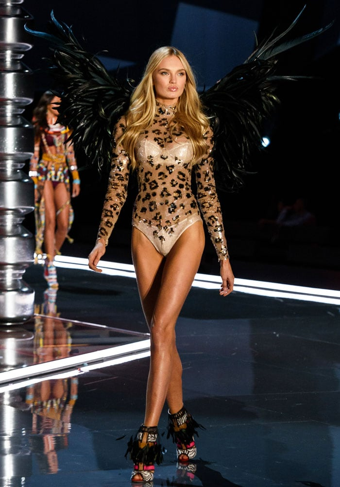 Romee Strijd is a leopard print-clad Angel with black feather wings