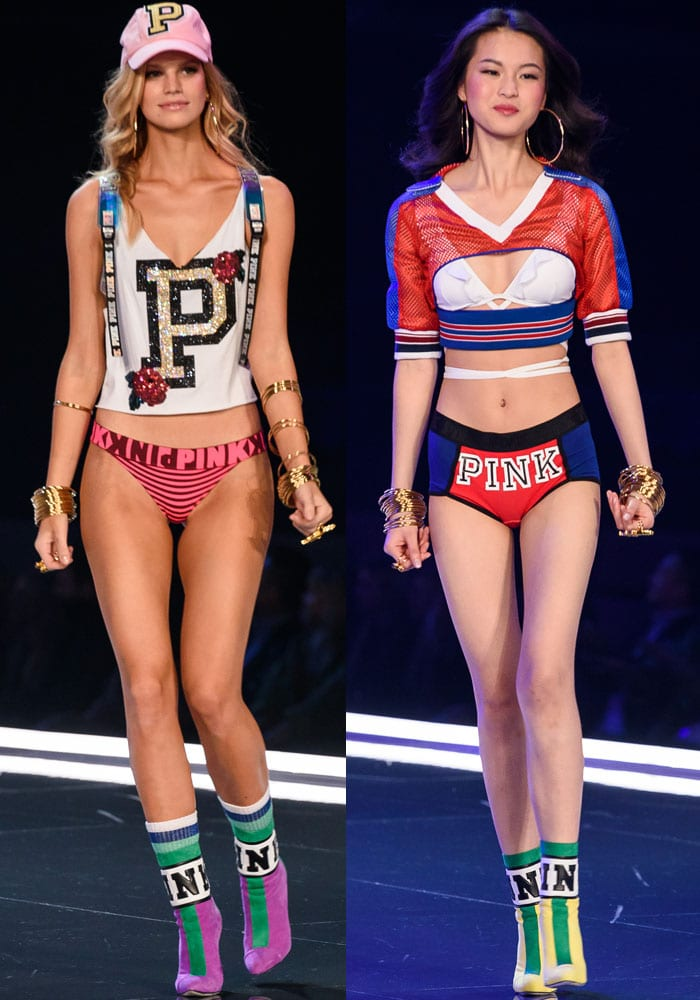 Nadine Leopold and Xin Xie show off the PINK lingerie and sporty crop tops