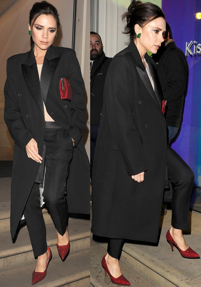 "Victoria Beckham steps out in pieces from her ready-to-wear limited edition ""Tuxedo"" collection"