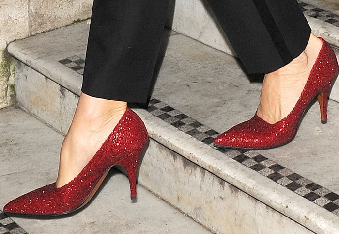 "Victoria steps out in her glitter ""Dorothy"" pumps"