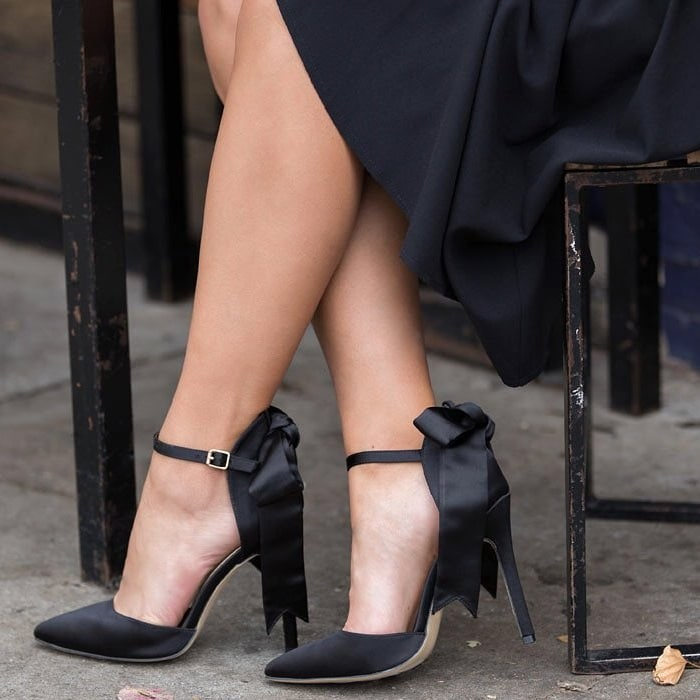 'Vivian' Satin Bow Pumps