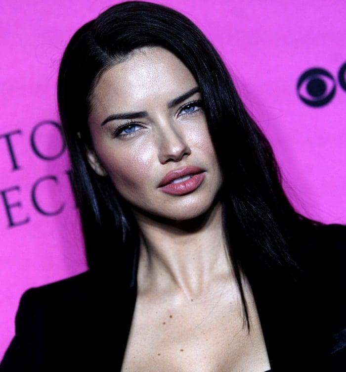 Adriana Lima wearing Victoria's Secret x Balmain blazer