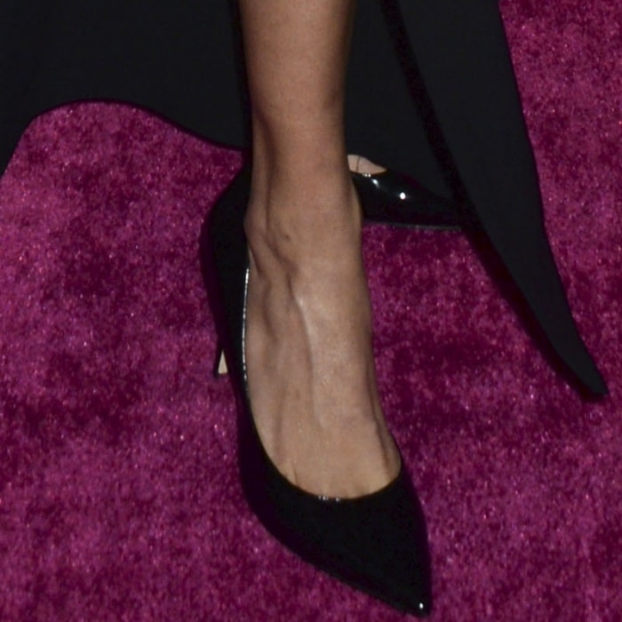 "Adriana Lima wearing Stuart Weitzman ""Curvia"" pumps at the 2017 Victoria's Secret Fashion Viewing Party"
