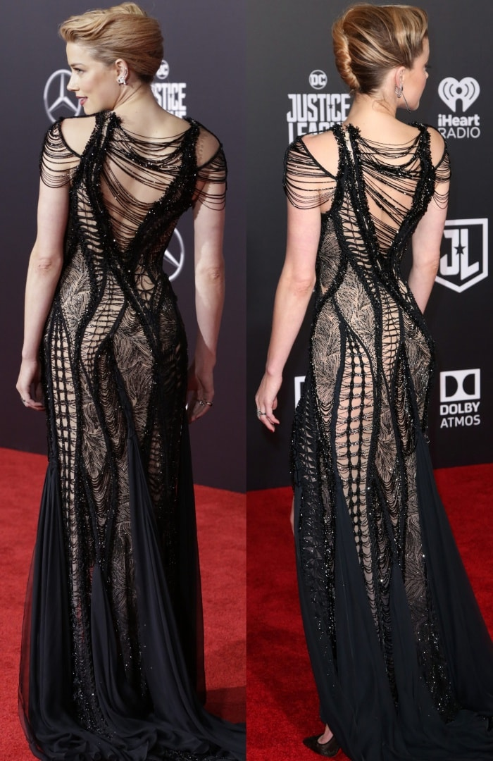 """Amber Heard wearing an Atelier Versace gown and Christian Louboutin """"Body Strass"""" pumps at the """"Justice League"""" Hollywood Premiere"""