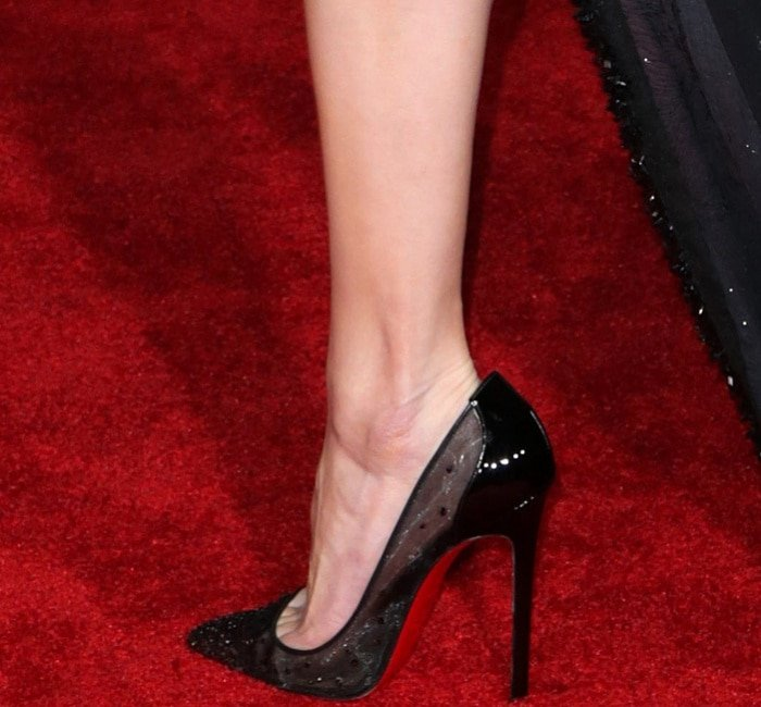 "Amber Heard wearing Christian Louboutin ""Body Strass"" pumps at the ""Justice League"" Hollywood Premiere"