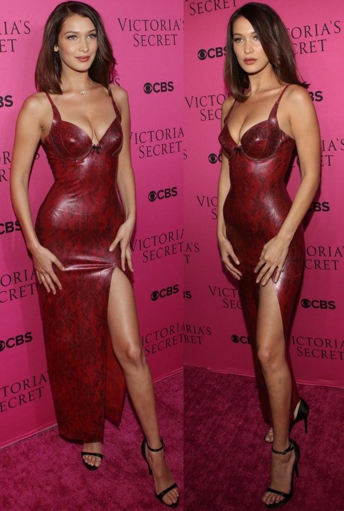 """Bella Hadid wearing an Atsuko Kudo dress and Stuart Weitzman """"Nudistsong"""" sandals"""