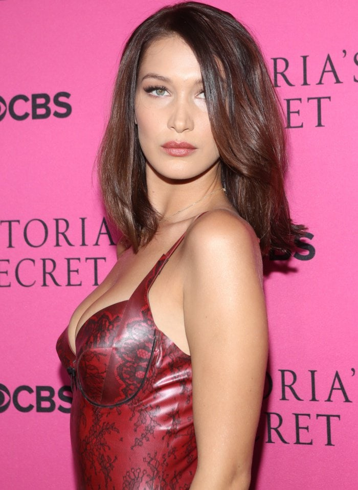 Bella Hadid wearing an Atsuko Kudo dress at the 2017 Victoria's Secret Fashion Show Viewing Party