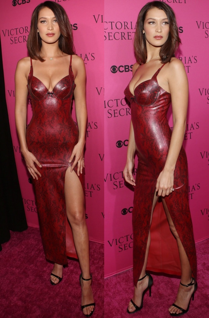 "Bella Hadid wearing an Atsuko Kudo dress and Stuart Weitzman ""Nudistsong"" sandals at the 2017 Victoria's Secret Fashion Show Viewing Party"