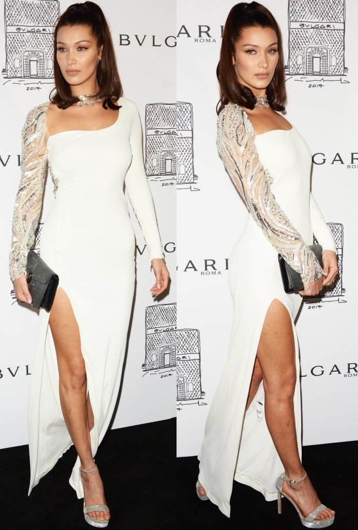 Bella Hadid paraded her legs a party to celebrate the Bvlgari Flagship Store Reopening on October 20, 2017, in New York City